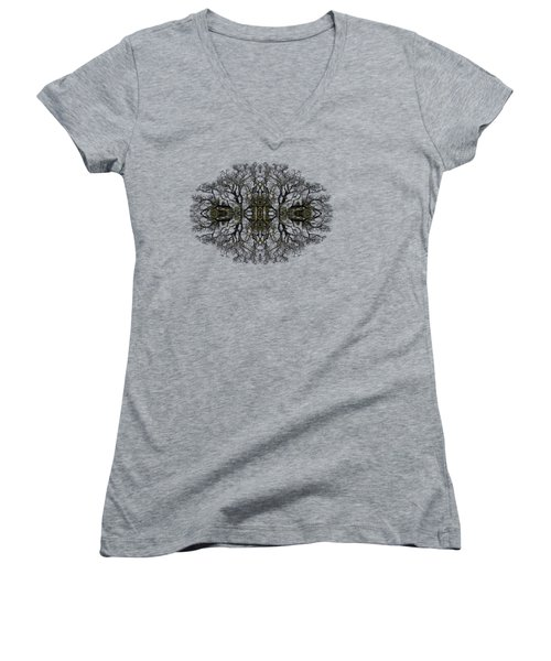 Women's V-Neck T-Shirt (Junior Cut) featuring the photograph Bare Tree by Debra and Dave Vanderlaan