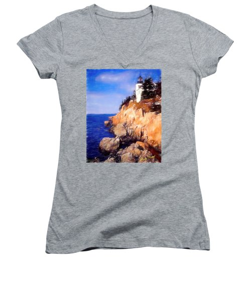 Bass Harbor Lighthouse,acadia Nat. Park Maine. Women's V-Neck