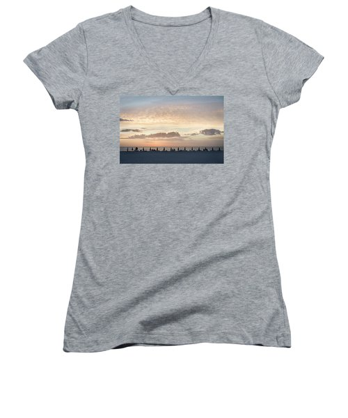 Beach At Sunset Women's V-Neck (Athletic Fit)