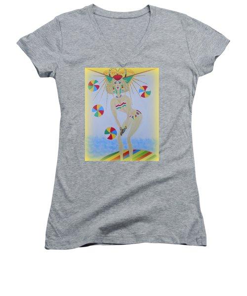 Beach Ball Surfer Women's V-Neck T-Shirt (Junior Cut) by Marie Schwarzer