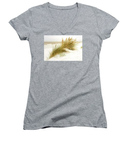 Women's V-Neck T-Shirt (Junior Cut) featuring the photograph Beach Grass by Hannes Cmarits