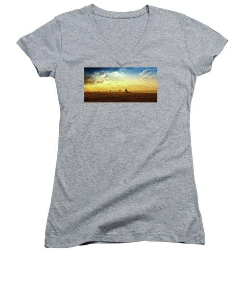 Beach Pier Women's V-Neck T-Shirt (Junior Cut) by Joseph Hollingsworth