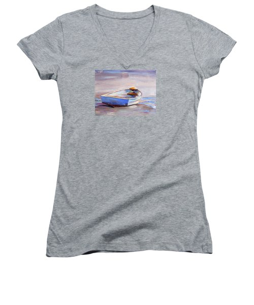 Beach Puddles Women's V-Neck T-Shirt (Junior Cut) by Trina Teele