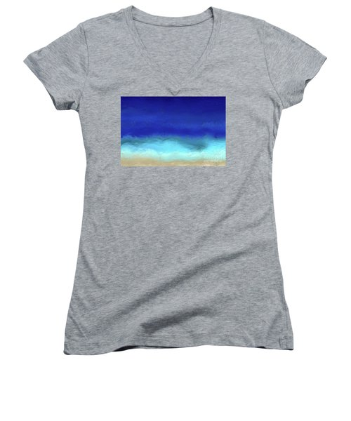 Beach Scene 8. Aqua Beach Blues Women's V-Neck T-Shirt (Junior Cut) by Mark Lawrence