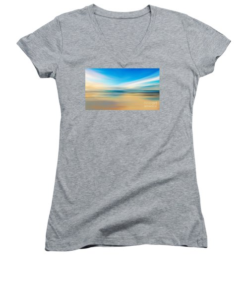 Women's V-Neck T-Shirt (Junior Cut) featuring the digital art Beach Sunrise by Anthony Fishburne