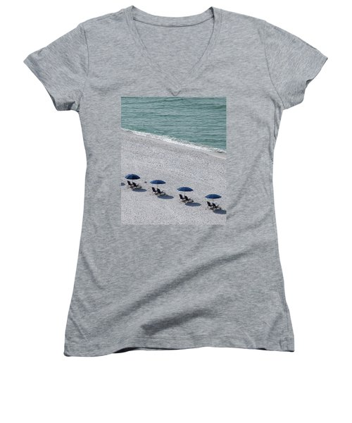 Women's V-Neck T-Shirt (Junior Cut) featuring the photograph Beach Therapy 1 by Marie Hicks