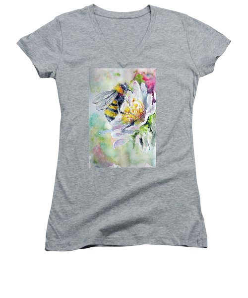 Bee On Flower Women's V-Neck T-Shirt (Junior Cut)