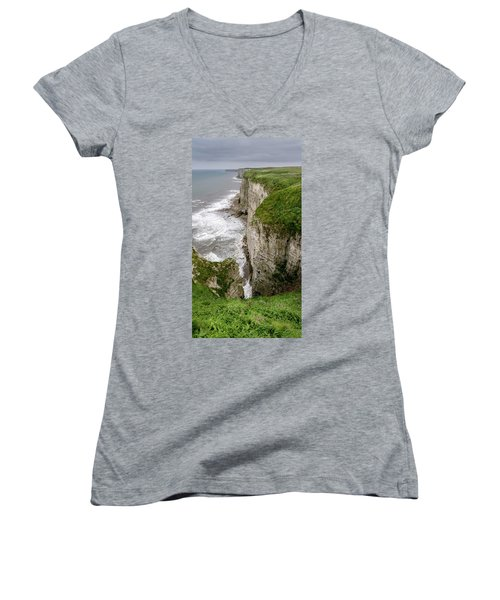 Bempton Cliffs Women's V-Neck T-Shirt (Junior Cut) by Nigel Wooding