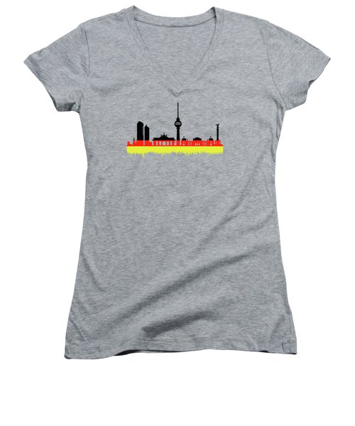 Berlin Skyline Women's V-Neck (Athletic Fit)