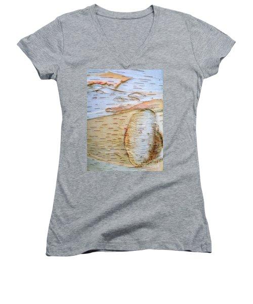 Birch Tree Bark Women's V-Neck T-Shirt