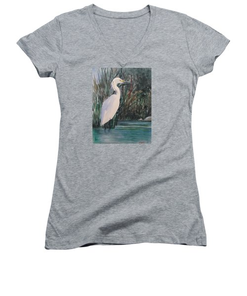 Bird Of Paradise Women's V-Neck T-Shirt (Junior Cut) by Heidi Patricio-Nadon