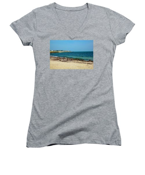 Women's V-Neck T-Shirt (Junior Cut) featuring the photograph Birds On The Beach by Madeline Ellis