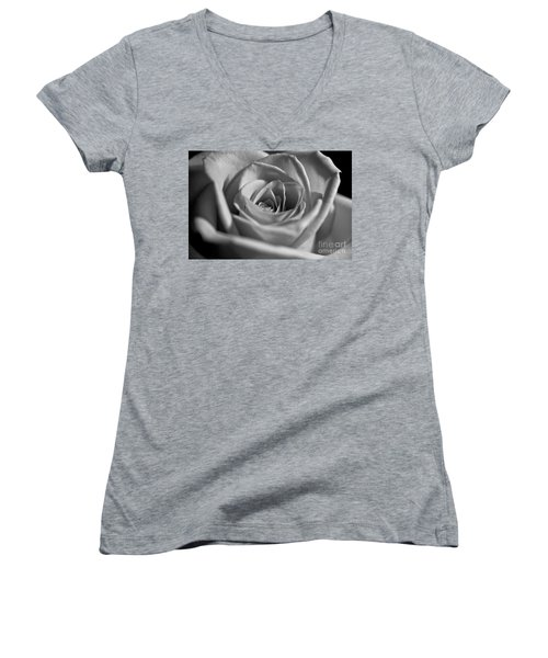 Women's V-Neck T-Shirt (Junior Cut) featuring the photograph Black And White Rose by Micah May