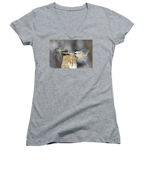 Women's V-Neck T-Shirt (Junior Cut) featuring the photograph Black-capped Chickadee In Winter by Mircea Costina Photography