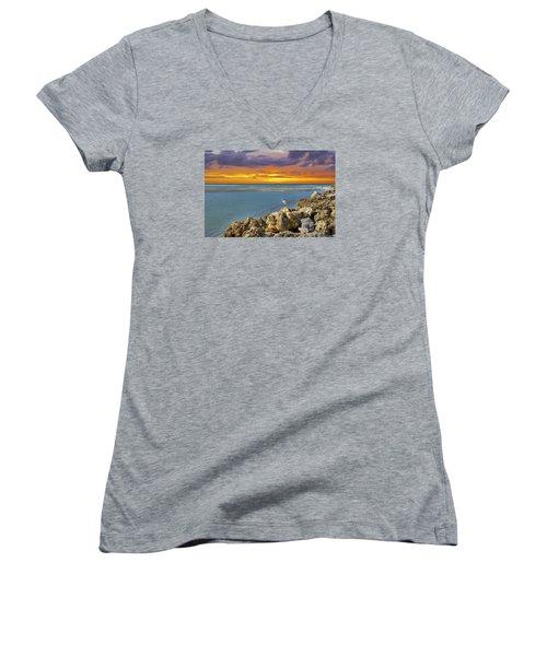 Blind Pass Sunset Women's V-Neck T-Shirt