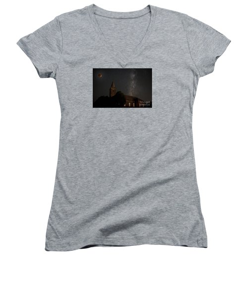 Women's V-Neck T-Shirt (Junior Cut) featuring the photograph Blood Moon Over St. Johns Church by Keith Kapple