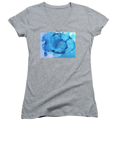 Blue Abstract Women's V-Neck (Athletic Fit)