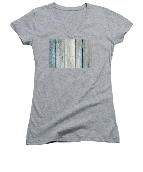 Women's V-Neck T-Shirt (Junior Cut) featuring the photograph Blue Fading Paint On Wood by John Williams