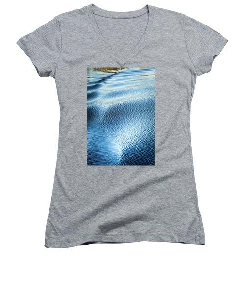 Blue On Blue Women's V-Neck T-Shirt (Junior Cut) by Karen Wiles