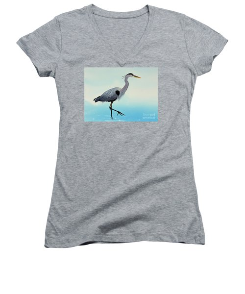 Women's V-Neck T-Shirt (Junior Cut) featuring the painting Blue Water Heron by James Williamson