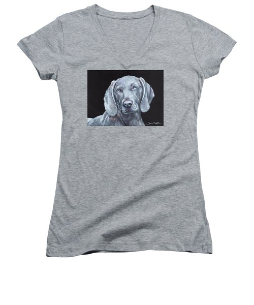 Blue Weimaraner Women's V-Neck (Athletic Fit)