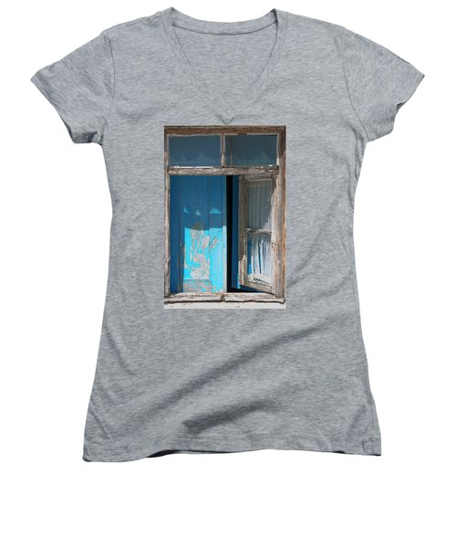 Blue Window Women's V-Neck T-Shirt (Junior Cut) by Edgar Laureano