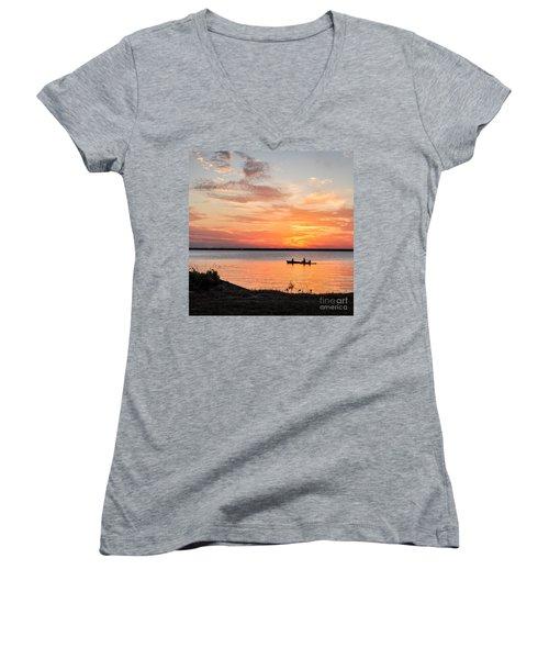Boating Sunset Women's V-Neck