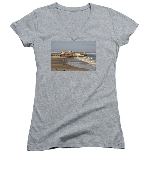 Boats Aground Women's V-Neck T-Shirt