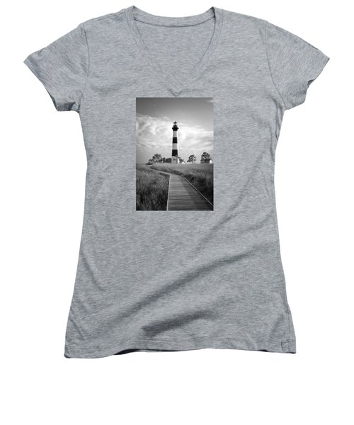 Women's V-Neck T-Shirt (Junior Cut) featuring the photograph Bodie Island Lighthouse by Marion Johnson