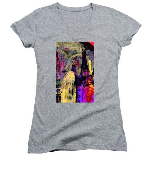 Bottles Women's V-Neck T-Shirt (Junior Cut) by Lori Seaman