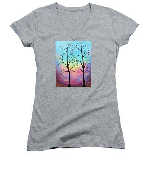 Branching Out Women's V-Neck T-Shirt (Junior Cut) by Stacey Zimmerman