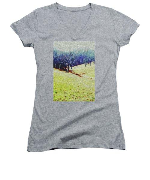 Women's V-Neck T-Shirt (Junior Cut) featuring the photograph Brandywine Landscape by Sandy Moulder