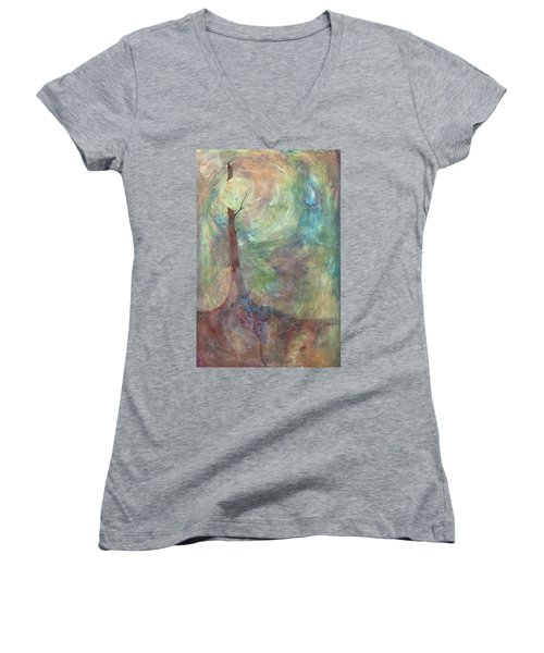Women's V-Neck T-Shirt (Junior Cut) featuring the painting Breaking Dawn by Pat Purdy