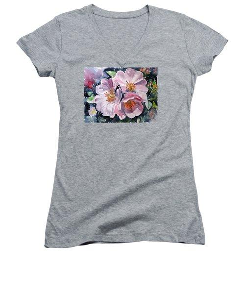 Women's V-Neck T-Shirt (Junior Cut) featuring the painting Briar by Kovacs Anna Brigitta