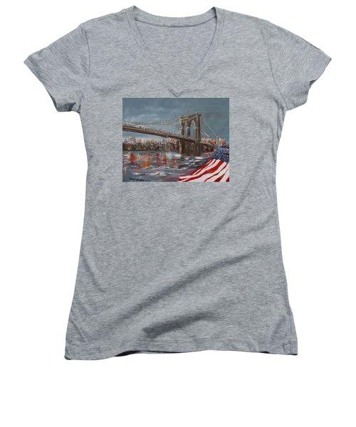 Brooklyn Bridge Women's V-Neck (Athletic Fit)