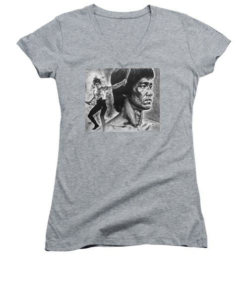 Women's V-Neck T-Shirt (Junior Cut) featuring the painting Bruce Lee by Darryl Matthews