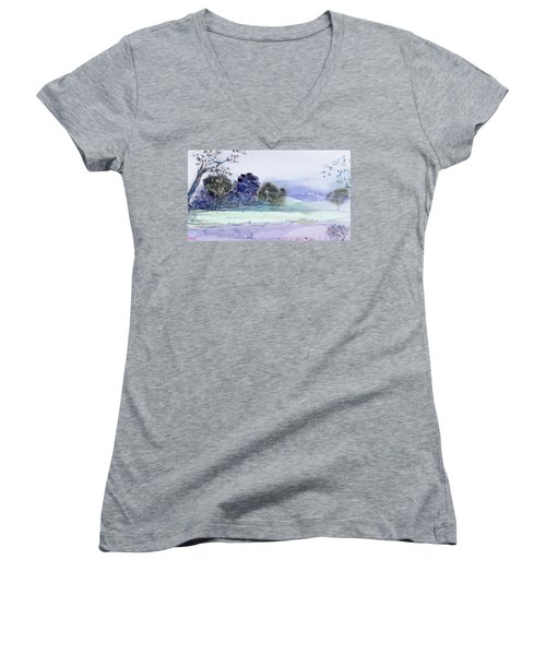 Women's V-Neck featuring the painting Bruny Island At Dusk by Dorothy Darden