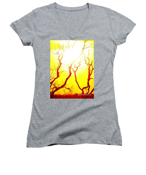 Women's V-Neck T-Shirt (Junior Cut) featuring the photograph Burning Sunset by Justin Moore