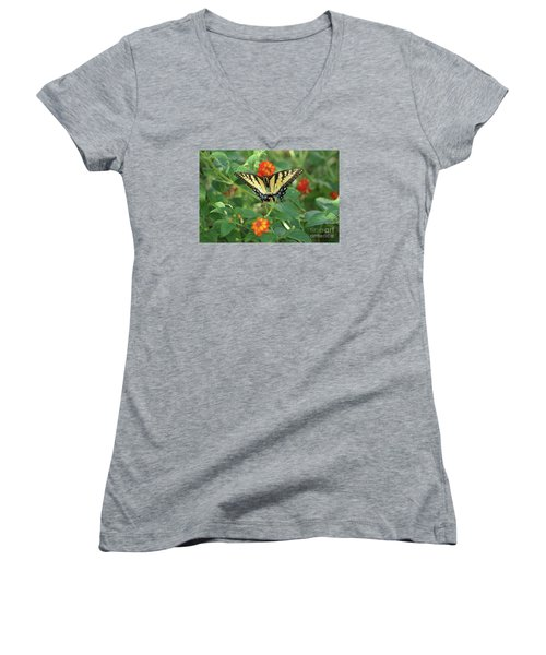 Butterfly And Flower Women's V-Neck T-Shirt (Junior Cut) by Debra Crank