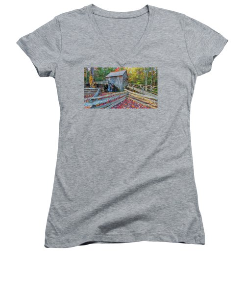 Cable Mill Women's V-Neck T-Shirt (Junior Cut) by Geraldine DeBoer