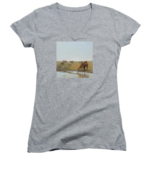 Camels Along The River Women's V-Neck (Athletic Fit)