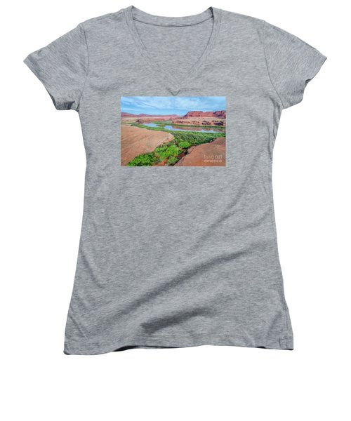 Canyon Of Colorado River In Utah Aerial View Women's V-Neck