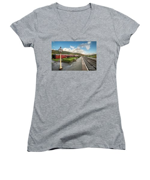Women's V-Neck T-Shirt (Junior Cut) featuring the photograph Carrog Railway Station by Adrian Evans