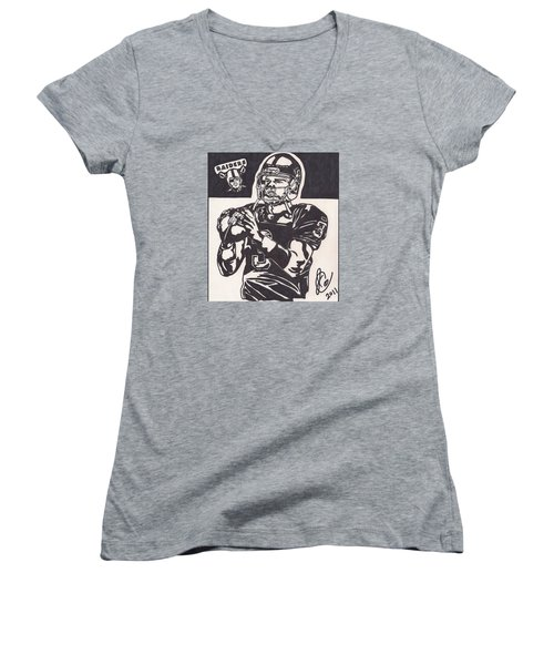 Women's V-Neck T-Shirt (Junior Cut) featuring the drawing Carson Palmer 1 by Jeremiah Colley