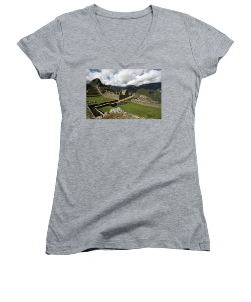 Central Plaza At Machu Picchu Women's V-Neck T-Shirt (Junior Cut) by Aidan Moran