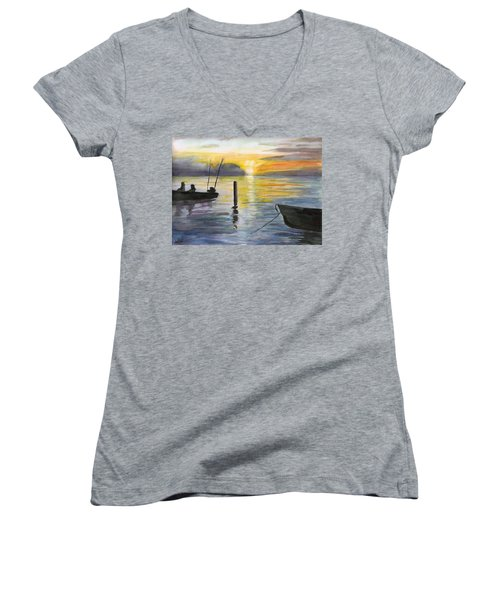 Chesapeake Sunset Women's V-Neck T-Shirt (Junior Cut)