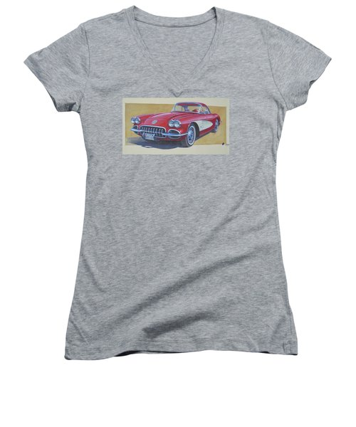 Women's V-Neck T-Shirt (Junior Cut) featuring the painting Chevy. by Mike Jeffries