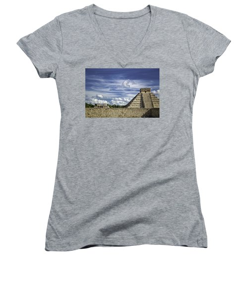 Chichen Itza, El Castillo Pyramid Women's V-Neck T-Shirt