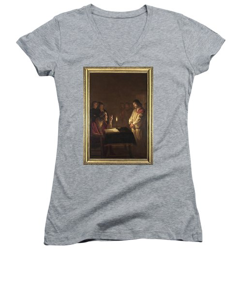Christ Before The High Priest Women's V-Neck T-Shirt (Junior Cut) by Gerrit van Honthorst