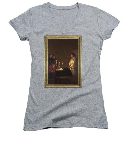Christ Before The High Priest Women's V-Neck T-Shirt (Junior Cut) by Gerrit van Honthorst